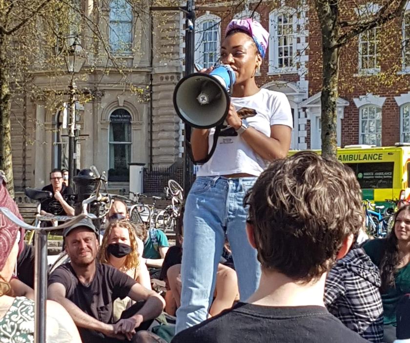 Protester addresses crowd at Kill the Bill protest in Bristol