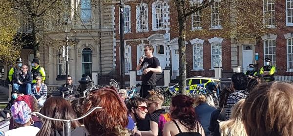 Protester addresses crowd at ninth Kill The Bill protest in Bristol, Saturday April 17th.
