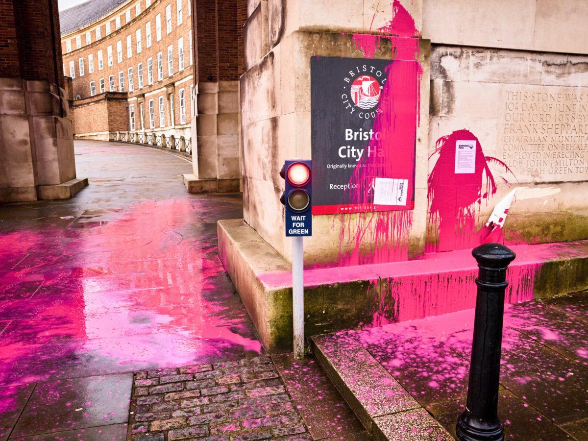 Pink paint on Bristol city hall