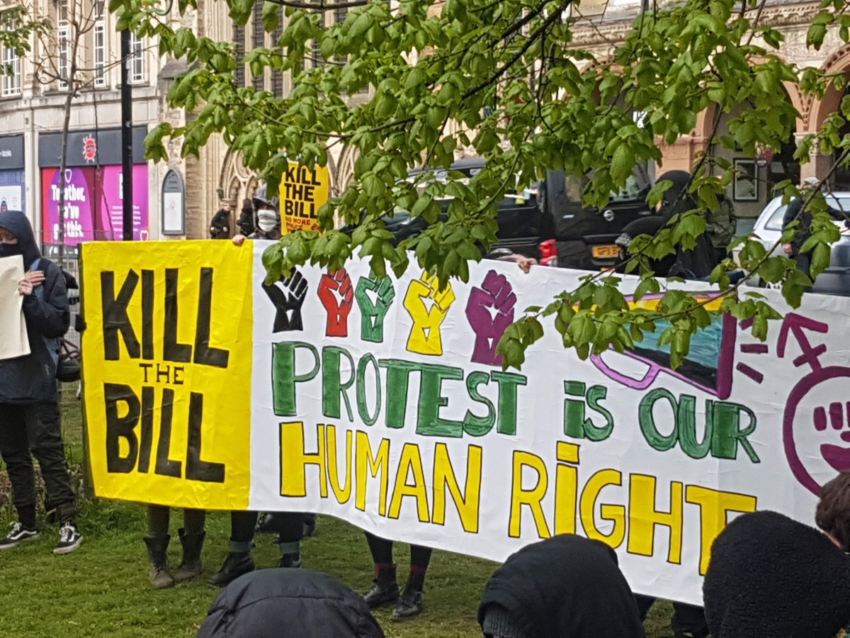 """Large banner held up at a Kill The Bill demo on College Green. Banner reads: """"Kill the Bill - Protest is our human right"""""""