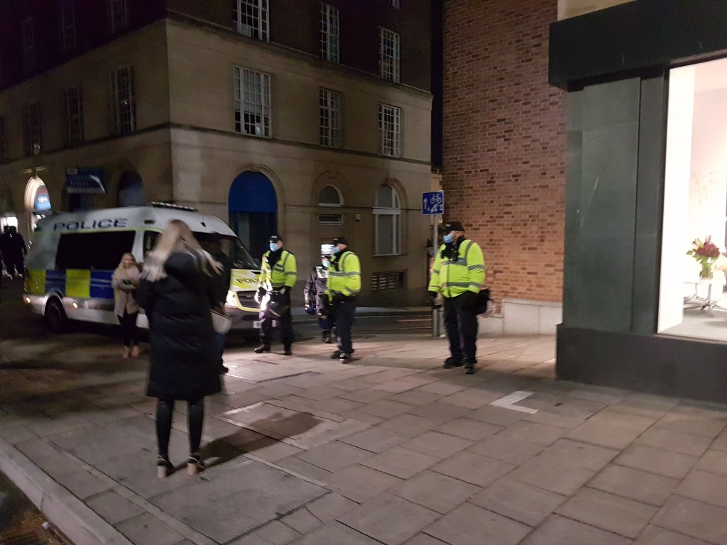Police block exits from Wine Street