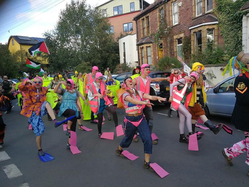 Gaggle of clowns in the Extinction Rebellion (XR) Bristol Summer Uprising 2019