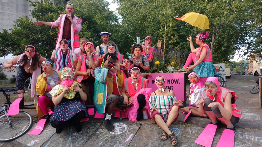 A gaggle of clowns at the Extinction Rebellion Summer Uprising Bristol 2019