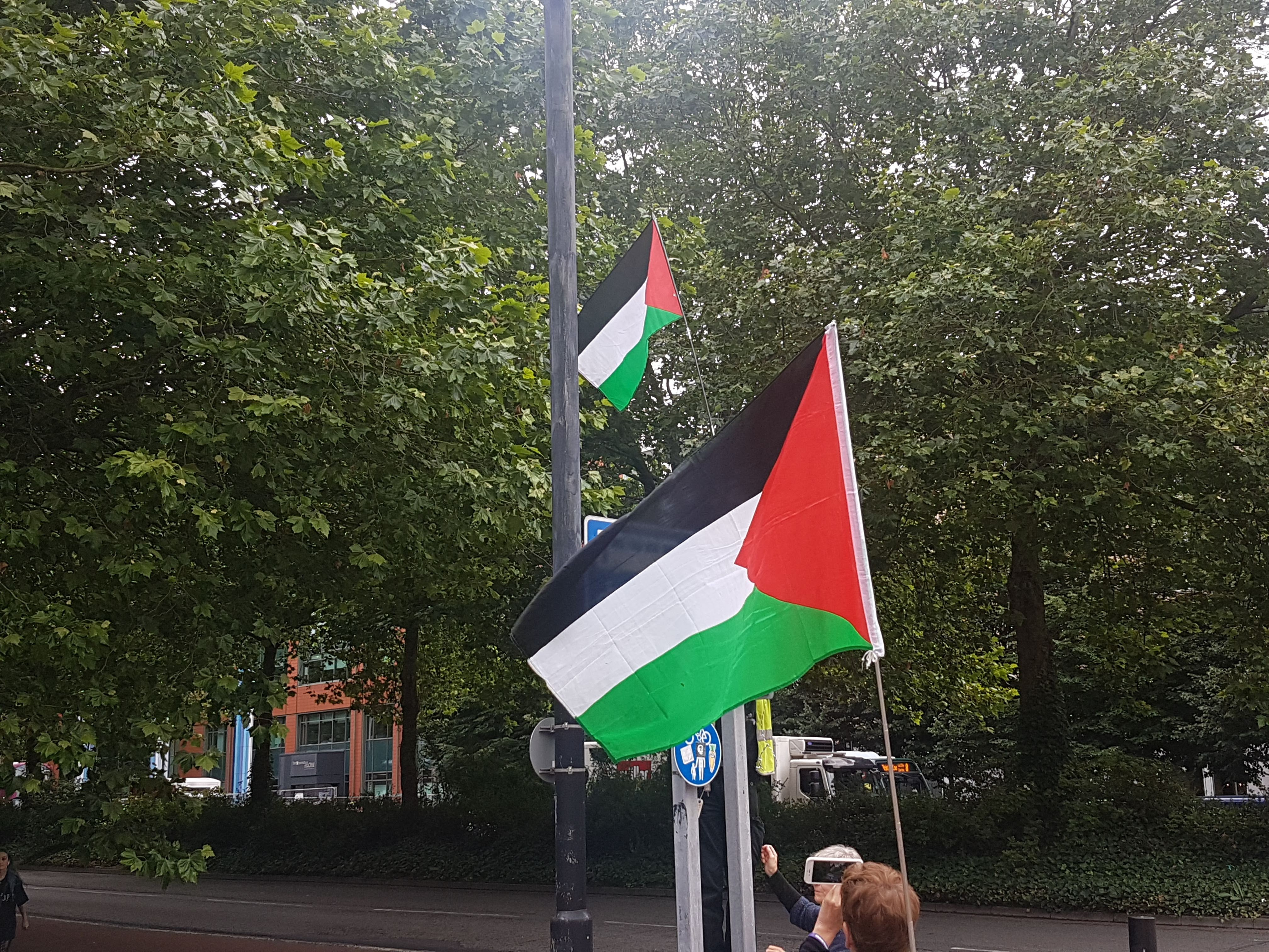 A Palestinian flag raised above a road sign.