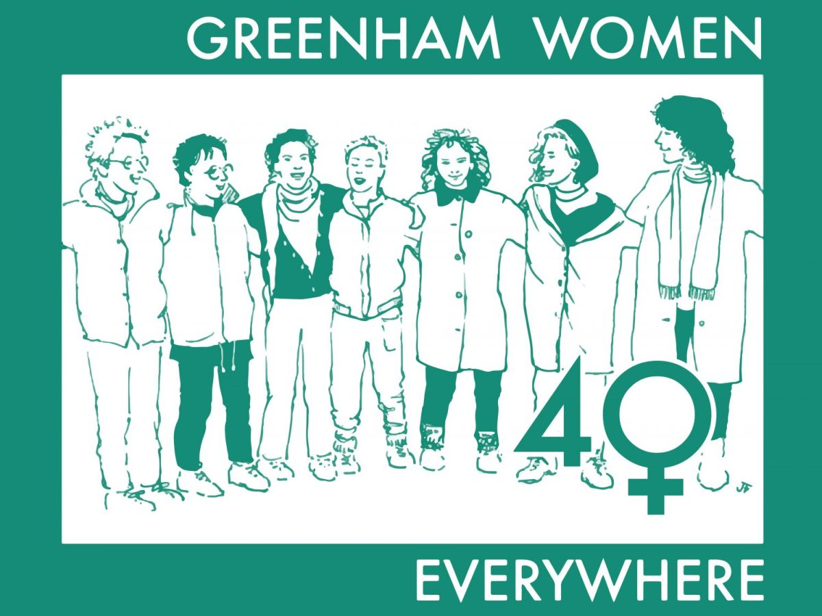 """Graphic image of 7 women standing with arms around each other's shoulders. Text reads: """"Greenham Women Everywhere"""""""